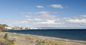 View of Mojacar from Macenas Beach Stock Photo