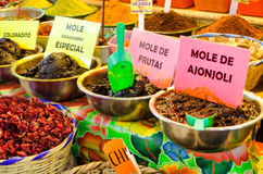 View of Mole in Oaxaca. Different types of mole and spices in marketplace in downtown Oaxaca, Mexico stock image