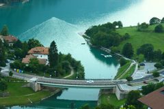View Molveno lake with bridge Royalty Free Stock Photography