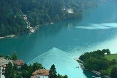 View Molveno lake with bridge Stock Photos