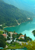 View Molveno lake with bridge Stock Photography