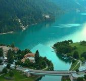 View Molveno lake with bridge Stock Images