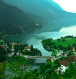 View Molveno lake with bridge Stock Image
