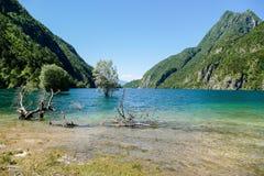View of Molveno lake in Dolomites Italy Stock Photo