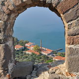 View from Molyvos castle,Greece. Molyvos historic town,island Lesbos,Greece stock photography