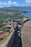 View from Molyvos Castle. Molyvos, Lesvos, Greece - June 20, 2014: View from Molyvos Castle showing coastline and Sea stock images