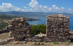 View from Molyvos Castle. Molyvos, Lesvos, Greece - June 20, 2014: View from Molyvos Castle showing coastline and Sea royalty free stock photo