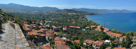 View of Molyvos Seafront. From hillside royalty free stock photo