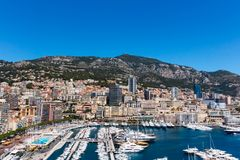 View of Monaco City and Fontvieille with boat marina in Monaco. Royalty Free Stock Photography