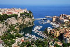 View of Monaco City and Fontvieille with boat marina in Monaco. Monaco City and Fontvieille are two of the four traditional quarters of Monaco Stock Images