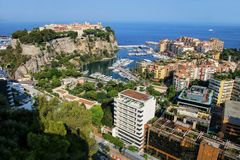 View of Monaco City and Fontvieille with boat marina in Monaco. Monaco City and Fontvieille are two of the four traditional quarters of Monaco Stock Photography