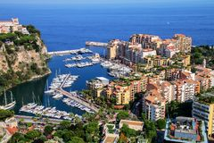View of Monaco City and Fontvieille with boat marina in Monaco. Monaco City and Fontvieille are two of the four traditional quarters of Monaco Stock Image