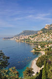 View of monaco on the french riviera. The picturesque french riviera near monaco Stock Photos