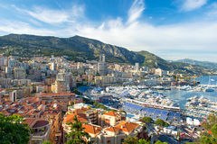 View of Monaco harbor, Formula 1 Grand Prix Stock Images