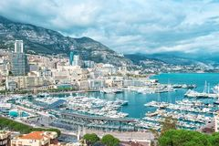 View Monaco harbor port Hercules Mediterranean Sea landscape Stock Photo