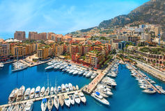 View of  Monaco harbour, Cote d'Azur. Luxury yachts in the bay of Monaco, France Stock Photography