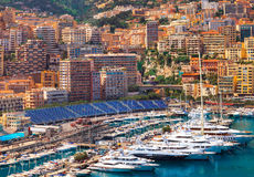 View of  Monaco harbour during formula 1 Stock Photos