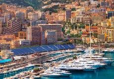 View of  Monaco harbour during formula 1 Stock Photos
