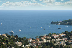 View of Monaco and many yachts in the bay Royalty Free Stock Images