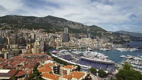 Panorama of Monaco Monte-Carlo, France. Luxury buildings and yachts in spring