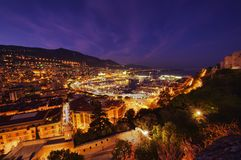 View of Monaco at night Stock Photos