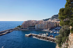 View of monaco port in Fontvielle from the village Royalty Free Stock Photography