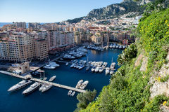 View of monaco port in Fontvielle from the village, daytime. View of monaco port in Fontvielle from the castle, daytime, landscape view Stock Photography