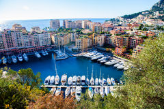 View of monaco port in Fontvielle from the village Royalty Free Stock Photos