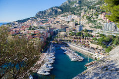 View of monaco port in Fontvielle from the village. Daytime, landscape view Stock Images