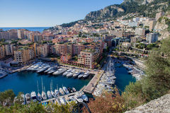 View of monaco port in Fontvielle from the village, daytime. Landscape view Royalty Free Stock Images