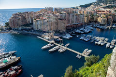 View of monaco port in Fontvielle from the village. Daytime, landscape view Stock Image