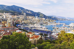 View of Monaco`s harbour and coastline from the Palais Square Royalty Free Stock Image