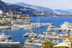View of Monaco`s harbour and coastline from the Palais Square Royalty Free Stock Images