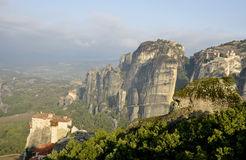 View of the monasteries at Meteora valley. Royalty Free Stock Photo