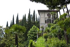 View of Monastero villa. And garden, Varenna, italy Royalty Free Stock Photography