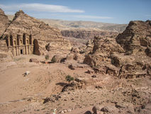 View of The monastery or Ad Deir at Petra. Jordan. Panoramic view of Ad  Deir at Petra. Jordan Royalty Free Stock Images
