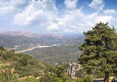 View from Monastery Kera Kardiotissa in the mountains of Crete. Royalty Free Stock Images