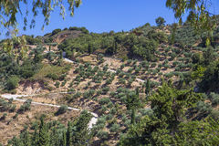 View from Monastery Kera Kardiotissa in the mountains of Crete. Royalty Free Stock Photo