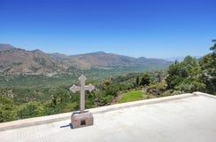 The view from the monastery Kremaston, Crete, Greece. View of the landscape from the monastery of Saints Michael and Gabriel - Kremaston Kremasti, Kremasta Crete royalty free stock photo