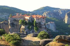 View of the monastery Meteora located on the rock Stock Photo