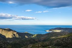 View of the Monastery Sant Pere de Rodes and bays north of Cape Stock Image
