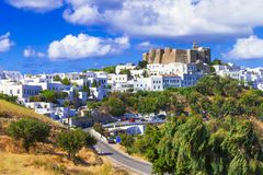 View of Monastery of st.John in Patmos island, Dodecanese, Greece. Unesco heritage site stock photography