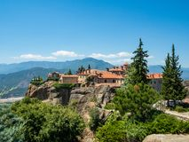 View of the monastery of St. Stephen in Meteora, Greece royalty free stock photography