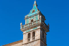 View of the Monastery of Valldemossa on Mallorca, Spain. Beautiful view. Tower of the monastery in Valldemossa. Close to the Sierra de Tramuntana Royalty Free Stock Images