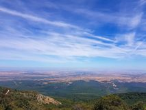 View from the moncayo mountain to the north. Peak outdoor countryside snowfield sightseeing famous nature hill environment travel landscape zaragoza locations royalty free stock photos