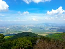 View from the moncayo mountain towards the northern valleys, Aragon. Spain. Travel, hill, nature, landscape, saragossa, outdoor, tourism, landmark, blue royalty free stock photography