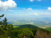 View from the moncayo mountain towards the northern valleys, Aragon. Spain. Travel, hill, nature, landscape, saragossa, outdoor, tourism, landmark, blue royalty free stock images