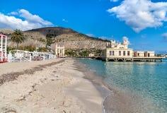 View of Mondello beach with establishment Charleston on the sea in Palermo. Mondello - Palermo, Sicily, Italy - October 9, 2017: View of Mondello beach with royalty free stock photos