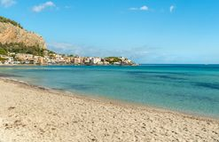 View of Mondello beach, is a small seaside resort near center of city Palermo, Sicily royalty free stock photo