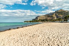 View of Mondello beach, is a small seaside resort near center of city Palermo, Sicily stock photos